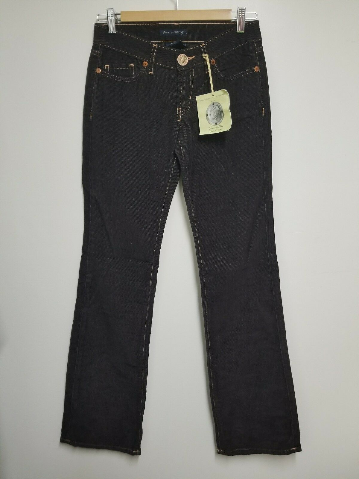 Immortality Diana Tabeshi Women's Brown Corduroy Jeans Jewel Button USA - Sz 26