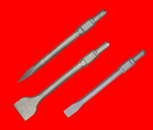 3 St 400mm Breitmeißel Flachmeißel Spitzmeißel 30mm 6-Kant Makita Hitachi Bosch