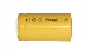 Sub C NiCd Cell Battery with Tabs 1500mAh