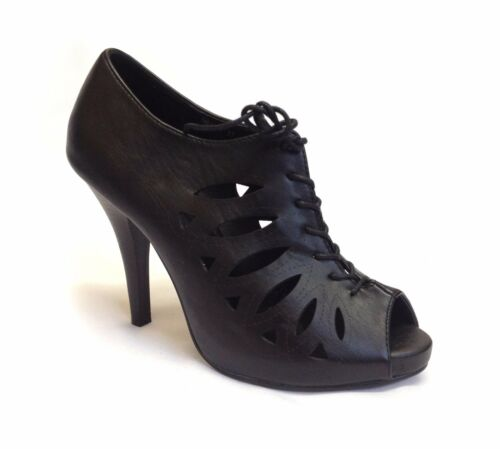Womens Ladies Cut Out Peep Toe Stilettos Gladiator Lace Up High Heels Pumps Size