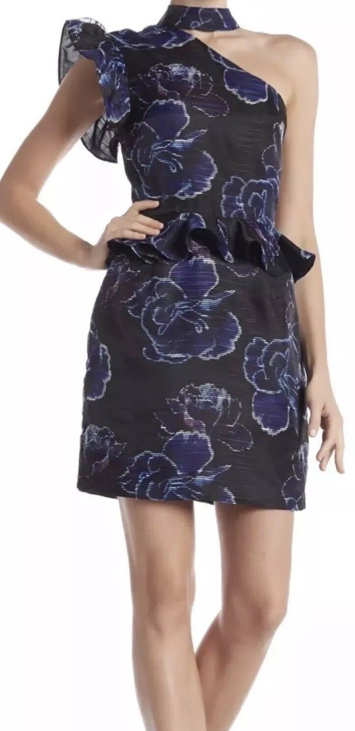 NICOLE MILLER Ruffle Sleeve One Shoulder Printed Dress Größe 10