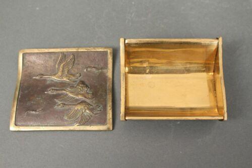 Bronze Dose 50er Zigarettenbehälter Vögel Motiv Gans Mid Century Deckeldose Box