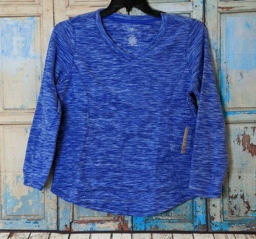 St Johns Bay Womens PM Active V Neck Polar Fleece Long Sleeve Sweatshirt Blue