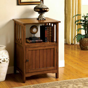 Mission Style Antique Oak Wood Telephone Stand Storage