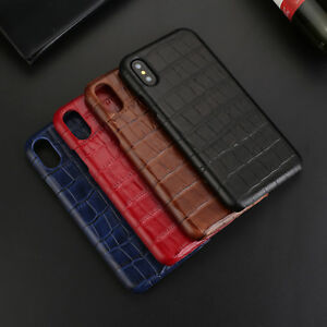 For iPhone Xs Max Xr X 7 8 Luxury Leather Crocodile Pattern Hard Back Case Cover