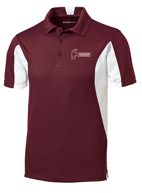 Hammer Men's Razyr Performance Polo Bowling Shirt Dri-Fit Maroon White