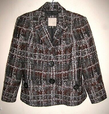 Magaschoni jacket 8 Plaid Wool Alpaca Gray Brown Copper M Blazer Lined Pattern