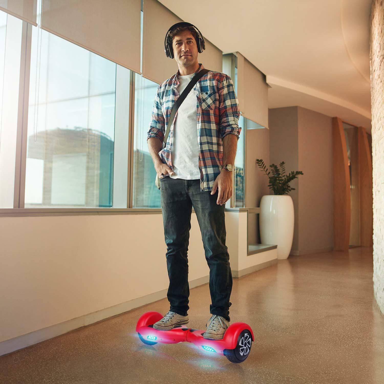 UL2272 Certified 6.5  Red Hoverboard Self Balancing Smart LED Electric Scooter