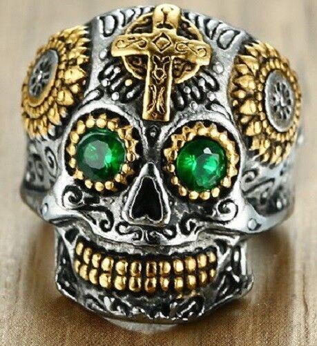 100% Wahr Edelstahl Ring Kapala Skull Totenkopf Biker Gothic Rocker Mc Reaper (re77)