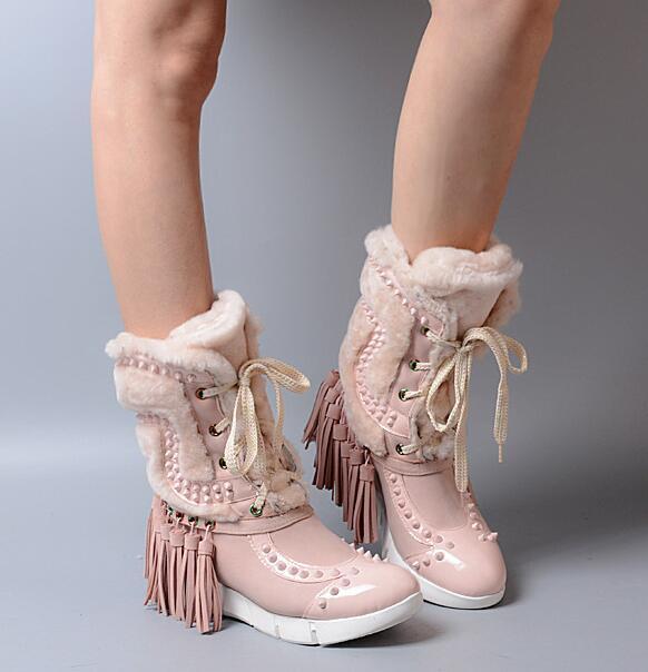 Señoras Terciopelo Grueso botas Zapatos De Nieve Mitad Mitad Mitad de Pantorrilla Remache Borlas Invierno Retro Folk  ventas en linea