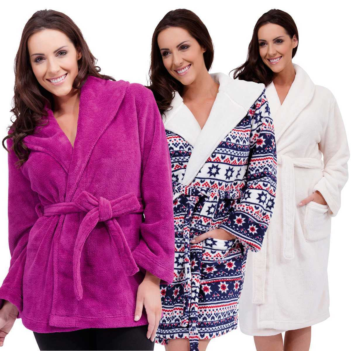 Ladies Womens Supersoft Housecoat Fleece Bath Robe Dressing Gown Soft Size 8-18