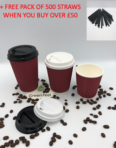 de2adfcfb85 RED RIPPLE TRIPLE WALL PAPER CUPS COFFEE 8/12/16oz Disposable LIDS ...