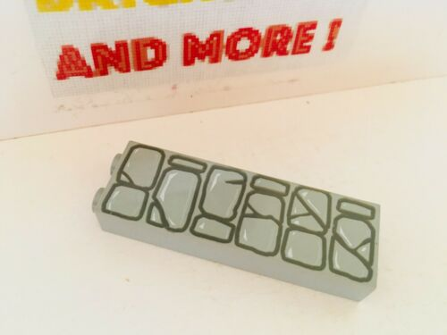 1x Brick Brique 1x2x5 Stone Pattern 2454pb001 Lego