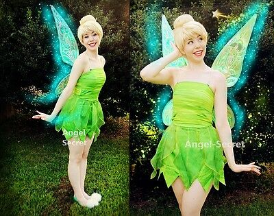 P356 Tinkerbell costume women kid cosplay leafy print dress custom made