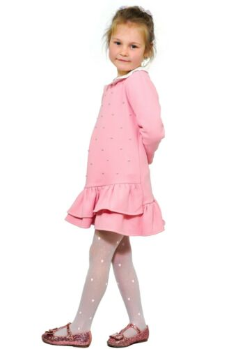 Girls Kids Delicate Pattern White Tights Holy Communion Bridesmaid Party