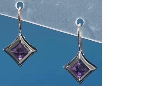 Margo Manhattan 1.05ctw Diamond-Shaped Amethyst Martini Sterling Drop Earrings