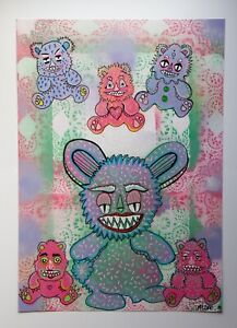 Imaginary-Friends-Monster-Original-Acrylic-Painting-By-Msdre-British-Artist-Chil