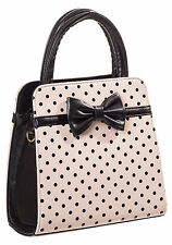 Banned Rockabilly 50s Vintage Polka Dot Women Bow Purse Handbag Cream Black