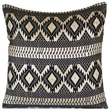 "Black Geometric Silver Large Cushion Cover Cotton Lurex Floor European 60cm 24"""
