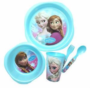 Disney-Frozen-Enfants-5-Piece-assiette-bol-verre-amp-Cuilleres-BPA-Free-Alimentation-Set