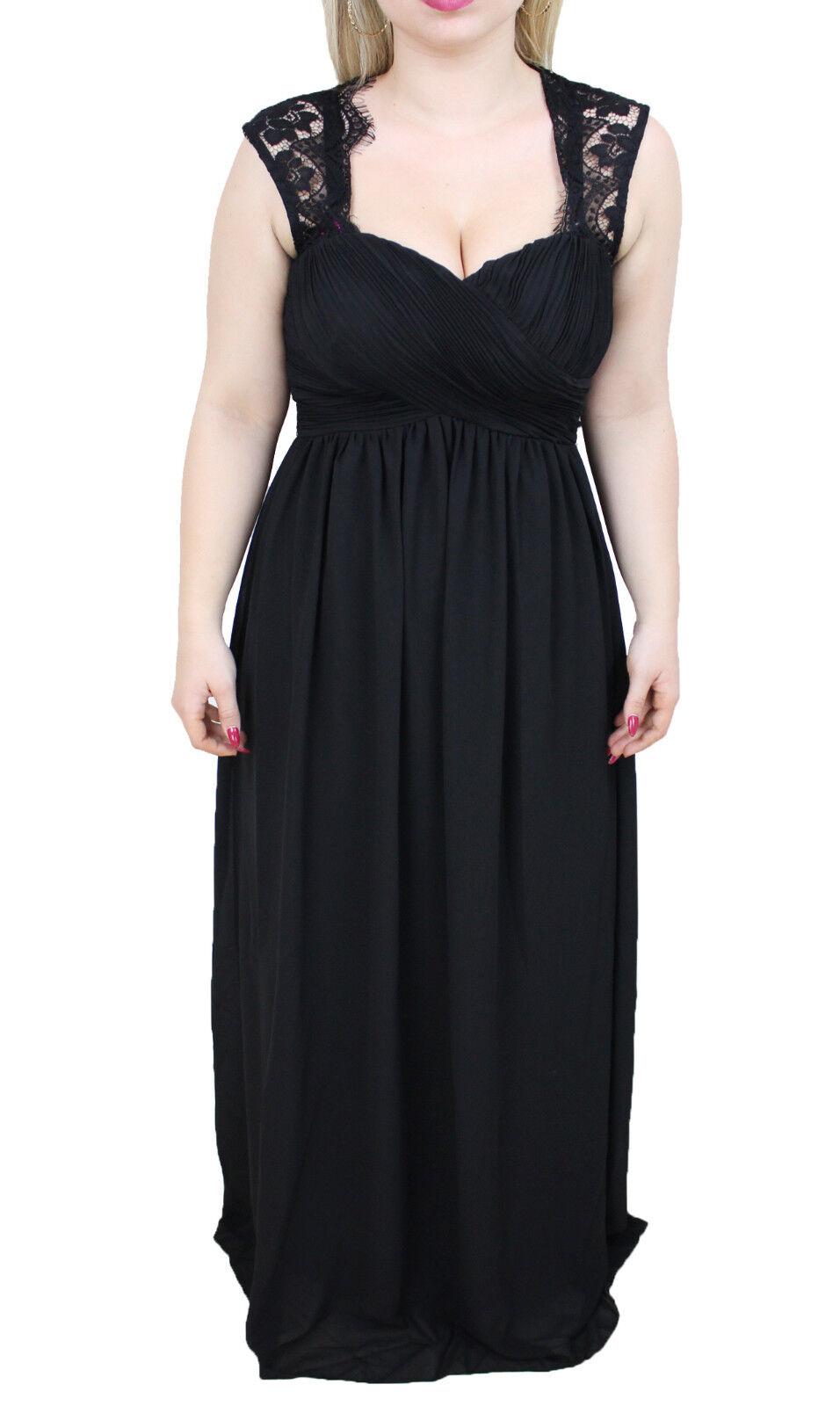 1231 - Abito donna nero made in  elegante cerimonia vestito lungo in pizzo