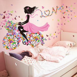 Details zu Mädchen Fahrrad Blumen Wandaufkleber Wandsticker Wandtattoo  Kinderzimmer Deko