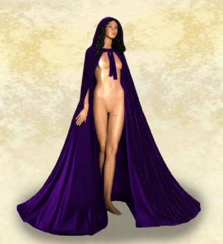 Cloak Velvet Hooded Cape Medieval Renaissance Costume LARP Halloween Fancy Dress