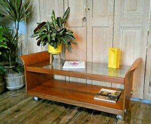 Mid Century G Plan Tulip Teak And Glass Coffee Table On Castors