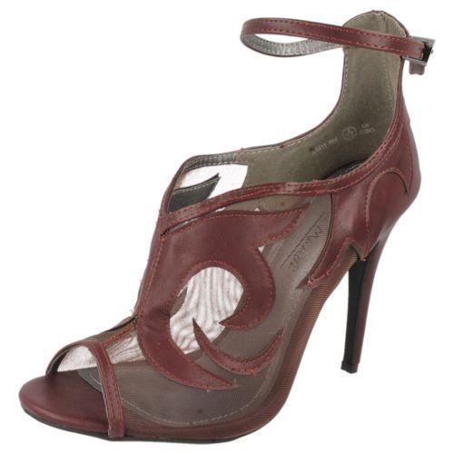 Moda jest prosta i niedroga AUSVERKAUF Damen Burgund netzförmig Effekt Stiletto Peep Toe Schuhe