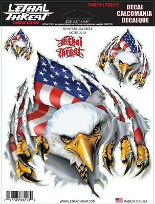 USA Eagle Flag Sticker For Motorcycle Windshield Fairing Lethal Threat Decal