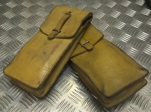 Genuine-Vintage-Military-Issue-Leather-Ammo-Utility-Pouch-Light-Brown-Tan-X2