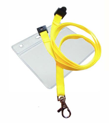 Plastique ID Badge Carte Poche Pochette 105 x 110 mm /& cou Cordon Métal Clip Lot