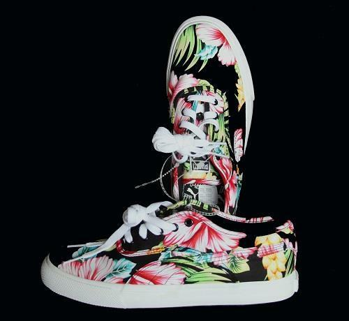 Puma LOCH Bright Hawaiian Tropical Hibiscus Floral Canvas sautope nuovo DISC