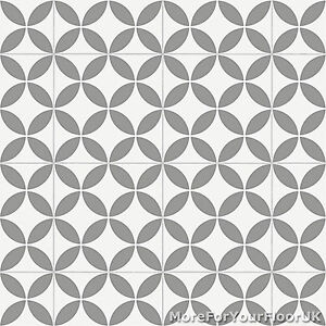 Image Is Loading Grey Retro Victorian Tile Pattern Vinyl Flooring Kitchen