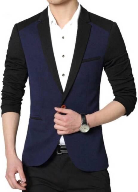 Brand New Men Basic Blazer Blue Coat Mens Slim Fit Formal Club Party Wear
