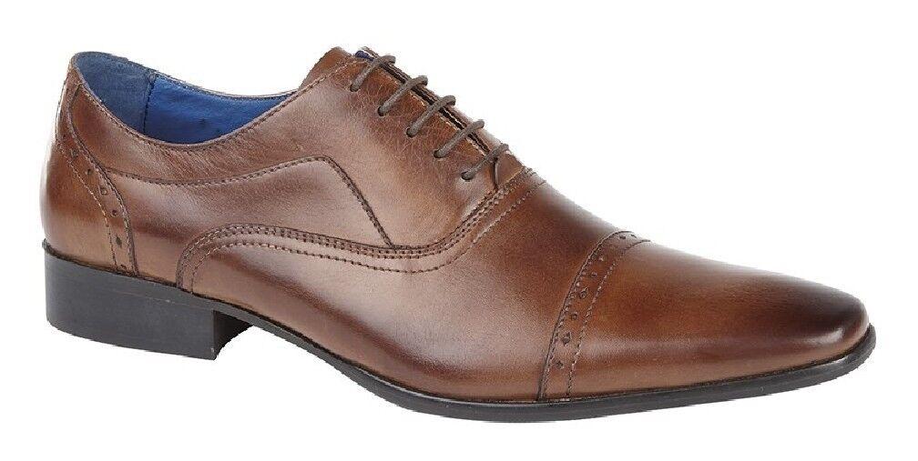 Roamers Uomo Nero Scarpe Pelle Pleat Cap Oxford Scarpe Nero eleganti in pelle brunita marrone chiaro 0294c3