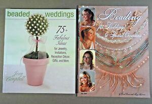 Lot-of-2-beading-books-Beaded-Weddings-amp-Beading-for-Weddings-jewelry-decor-etc