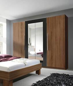 Kleiderschrank 228cm kernnussrot / schwarz Spiegel Schlafzimmer ...