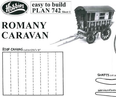 Original Hobbies Easy to Build Plan of Model Romany Caravan Wood Gypsy P742