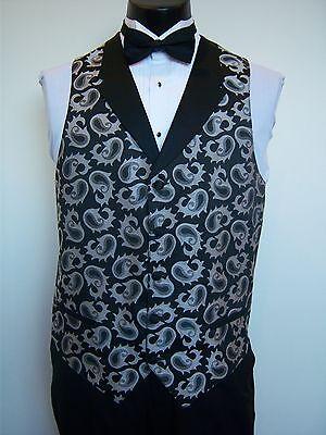 Black & Silver Paisley Fullback Formal Vest and Bowtie set - men's - S-M-L-XL