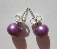 Purple 7mm Button Round Sea Shell Pearl Earrings 925 Silver Stick Butterfly Stud