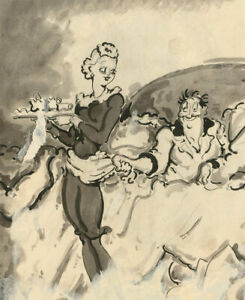 Harold-Hope-Read-1881-1959-Pen-and-Ink-Drawing-The-Waitress