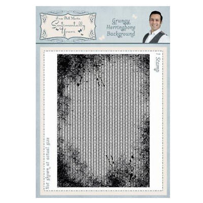 GRUNGY HERRINGBONE BACKGROUND A6 Sentimentally Yours Stamp by Phill Martin