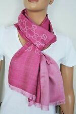 GUCCI 165904 Schal mit GG Jacquard-Muster 45x180 cm Wolle/Seide pink NEU