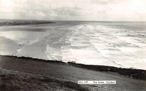 Vintage-c1960-Real-Photo-Postcard-The-Sands-Saunton-Devon-19X