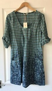 WHITE-STUFF-BLUE-FLORAL-CHECKED-DRESS-UK-10-NEW-COTTON