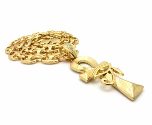"""New Gold PT EGYPTIAN ANKH CROSS Pendant w// 12mm 30/"""" Guci Chain Hip Hop Necklace"""