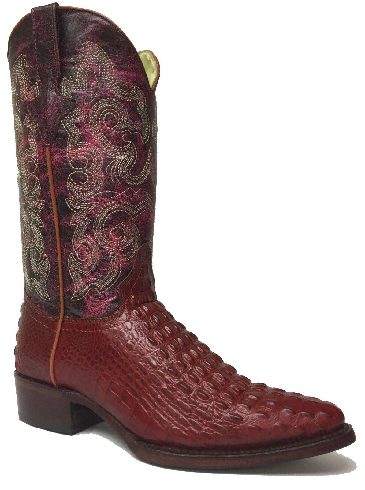 New Uomo Cognac Rust Brown Crocodile Alligator Pelle Western Cowboy Stivali J