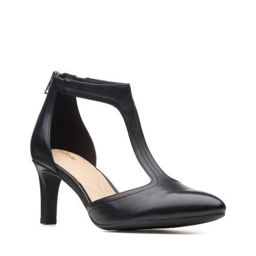 Wouomo scarpe Clarks Calla Lily T Strap Pointy Toe Pump 36042 nero Leather New