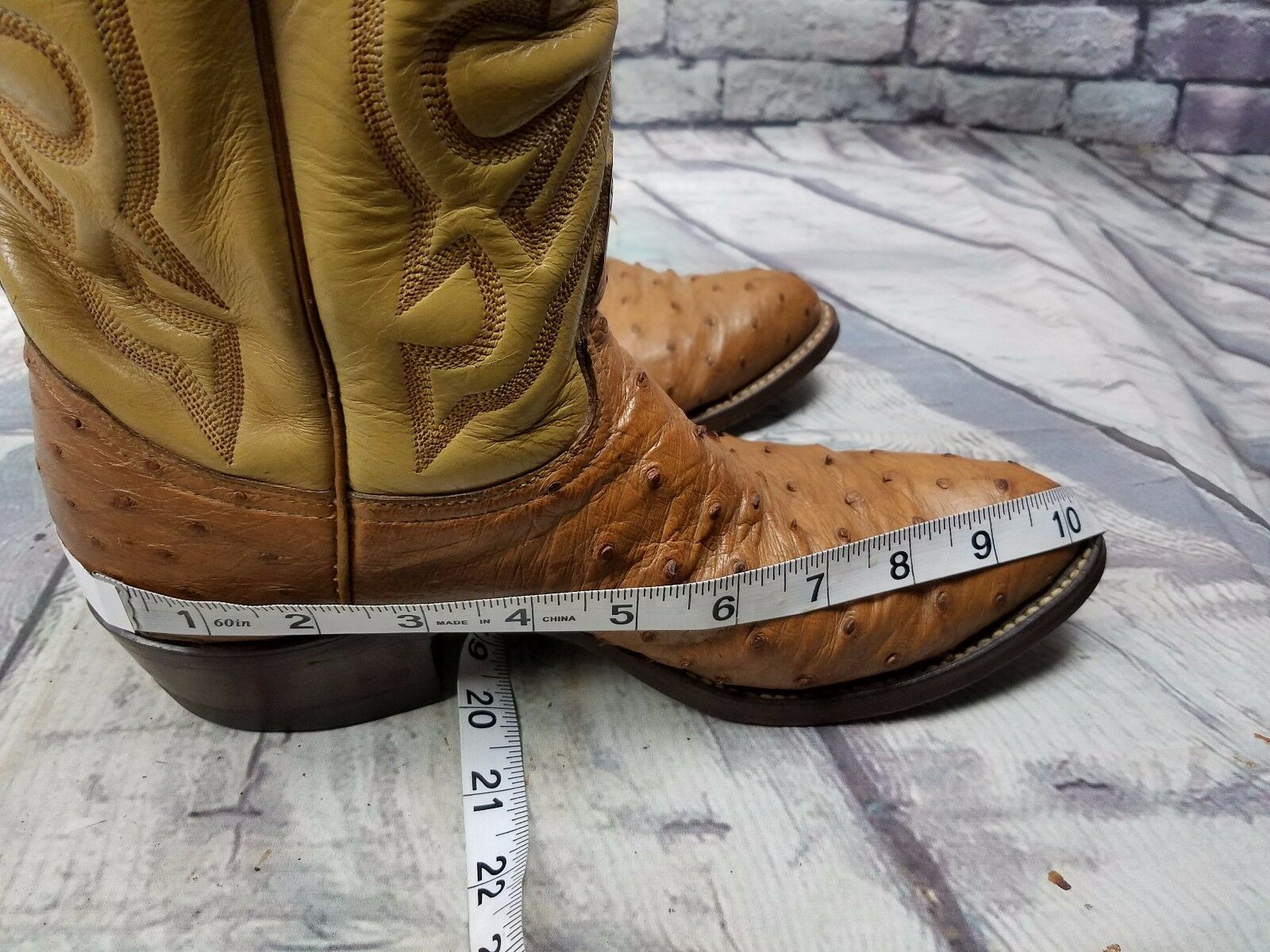 Cowboy Western Stivali Ostrich leather Neolite Oil resistance Brown Brown resistance 475 Size 9 5ace86